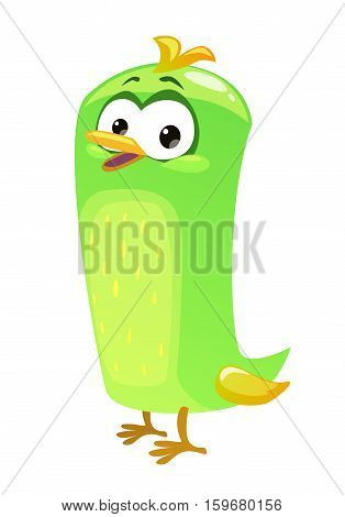 Cute funny green bird icon. Vector illustration. Cartoon style birdie template for graphic design.