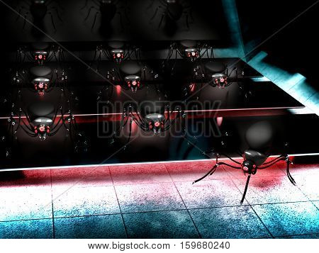 cyber army of spiders robot in futuristic background - 3D renderning
