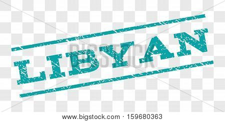Libyan watermark stamp. Text tag between parallel lines with grunge design style. Rubber seal stamp with unclean texture. Vector cyan color ink imprint on a chess transparent background.
