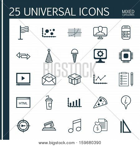 Set Of 25 Universal Editable Icons. Can Be Used For Web, Mobile And App Design. Includes Elements Such As Report, Frozen Food, Keyword Marketing And More.