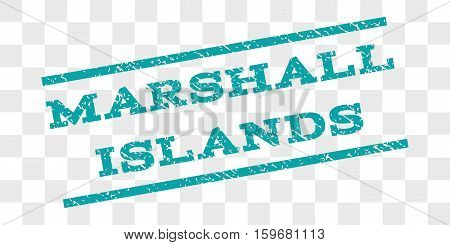 Marshall Islands watermark stamp. Text tag between parallel lines with grunge design style. Rubber seal stamp with scratched texture. Vector cyan color ink imprint on a chess transparent background.