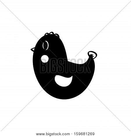 Creative black silhouette chicken on white background. Vector logo