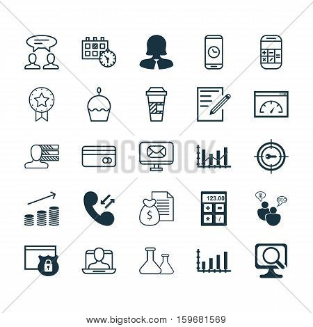 Set Of 25 Universal Editable Icons. Can Be Used For Web, Mobile And App Design. Includes Elements Such As Calculation, Dialogue, Personal Skills And More.