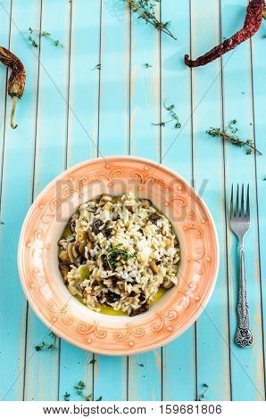 Delicious Risotto With Porcini Mushrooms Over Wooden Turquoise Background