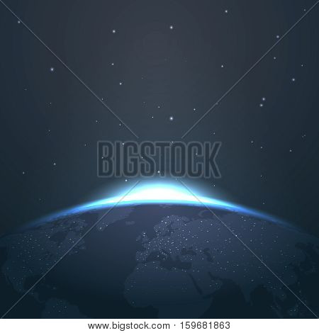 Sunrise horizon over earth from space with stars and lights vector. Illustration sunrise and astronomy glow sunrise in universe