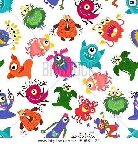 Cute vector seamless colorful monster pattern for happy little boy. Background with monsters, set of character monster fluffy and horned illustration
