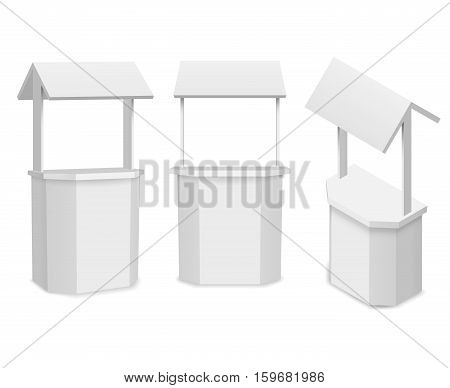 Vector market stand or retail counter for your information or promote business. Mockup counter for promotional, presentation and promo counter. Vector illustration
