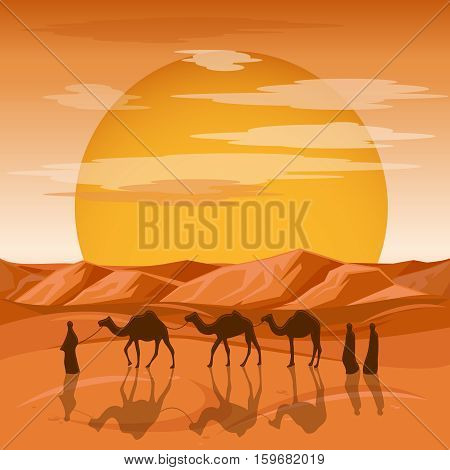Caravan in desert vector background. Arab people and camels silhouettes in sands. Caravan with camel, camelcade silhouette travel to sand desert illustration
