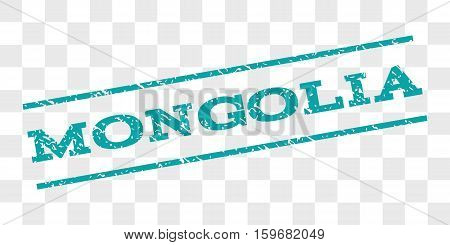 Mongolia watermark stamp. Text caption between parallel lines with grunge design style. Rubber seal stamp with scratched texture. Vector cyan color ink imprint on a chess transparent background.