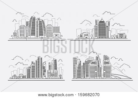 Line drawing skyscrapers, vector contour drawing cityscape elements. Hand drawing business and dormitory district illustration