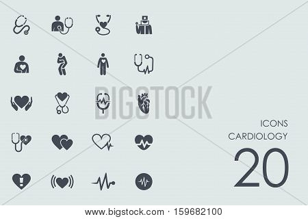 cardiology vector set of modern simple icons
