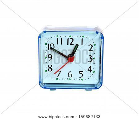 Table clock square shape showing one o'clock isolated on white background front view closeup