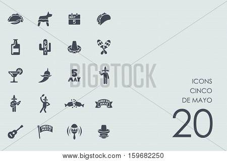 Cinco de Mayo vector set of modern simple icons