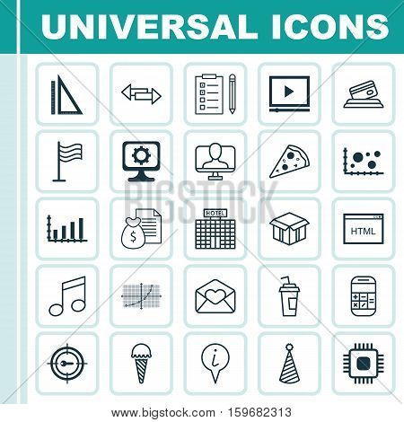 Set Of 25 Universal Editable Icons. Can Be Used For Web, Mobile And App Design. Includes Elements Such As Reminder, Chip, Credit Card And More.