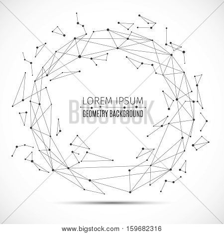 Geometric polygonal lines sphere with connected dots. Vector information connect concept. Abstract connection wireframe, connect line and dots in round form illustration