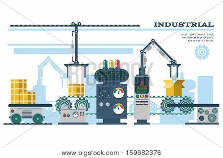 Industrial conveyor belt line vector illustration. Conveyor process production, conveyor with machinery robot