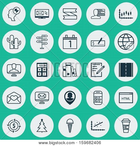 Set Of 25 Universal Editable Icons. Can Be Used For Web, Mobile And App Design. Includes Elements Such As Money Recycle, Email, Stock Market And More.