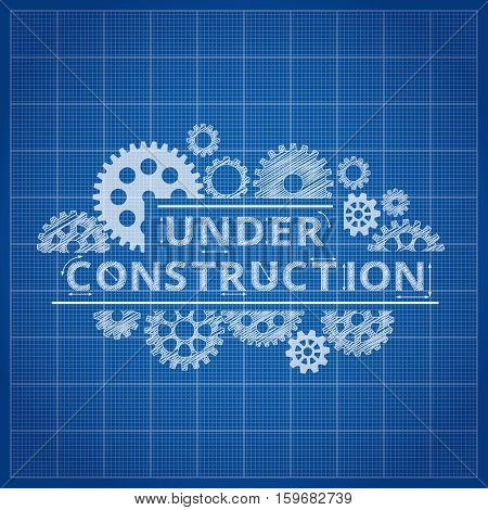 Blueprint website backdrop. Under construction blue print background for web page illustration