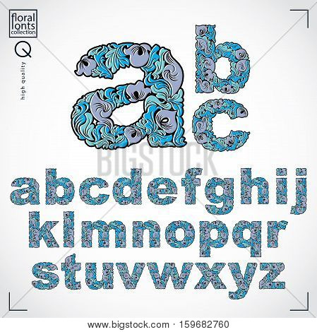 Set Of Vector Ornate Lowercase Letters, Flower-patterned Typescript. Blue Characters Created Using H