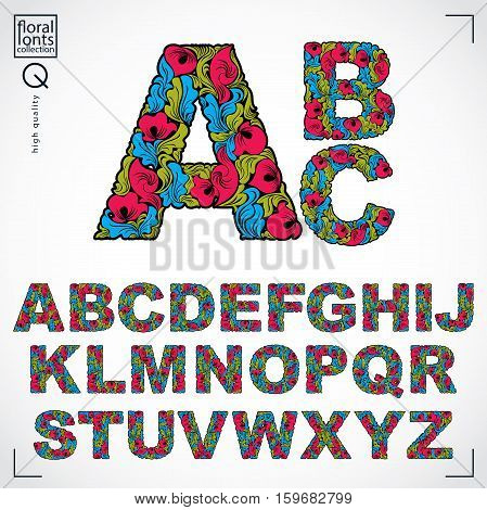 Floral Font, Hand-drawn Vector Capital Alphabet Letters Decorated With Botanical Pattern. Ornamental