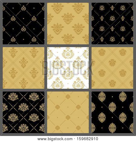 Royal medieval backgrounds, antique wallpaper pattern set. Golden royal pattern, classic tile with golden tracery. Vector illustration