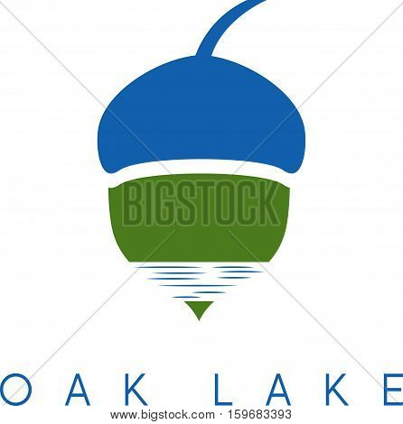 Illustration Of Acorn And Lake Vector Icon