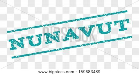 Nunavut watermark stamp. Text tag between parallel lines with grunge design style. Rubber seal stamp with dirty texture. Vector cyan color ink imprint on a chess transparent background.