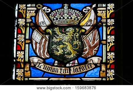 Stained Glass - Belgian Lion And Flags Of Wwi Allies