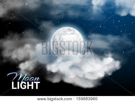 Moonlight night Full Moon. Mystical Night sky Realistic clouds. Clouds and stars. Shining Stars on dark blue sky. Vector illustration background