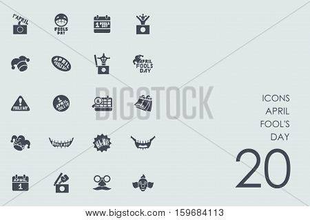 april fool's day vector set of modern simple icons