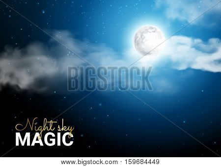 Night Sky with the Moon and Lunar Rays Passing Through the Clouds. Mystical Moonlight night. Realistic clouds. Shining Stars on dark blue sky. Vector illustration background.
