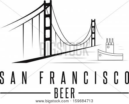 San Francisco Golden Gate Bridge With Beer Bottles And Boat Vector Design Template