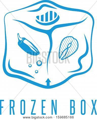 Food Box Concept With Frozen Products For Bbq Vector Icon