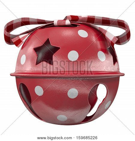 red Christmas bell with a bow 3d illustration