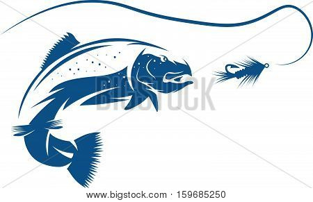 Trout Fish And Lure Vector Design Template