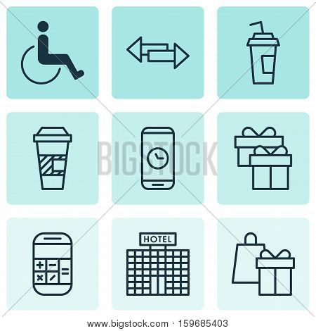 Set Of 9 Transportation Icons. Can Be Used For Web, Mobile, UI And Infographic Design. Includes Elements Such As Shopping, Calculator, Gift And More.