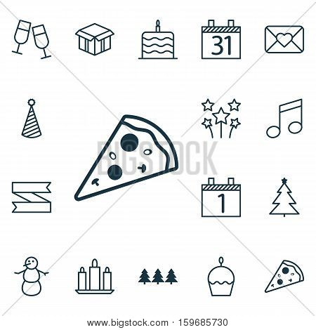 Set Of 16 Happy New Year Icons. Can Be Used For Web, Mobile, UI And Infographic Design. Includes Elements Such As Candle, Xmas, Cupcake And More.