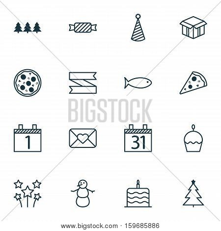 Set Of 16 Celebration Icons. Can Be Used For Web, Mobile, UI And Infographic Design. Includes Elements Such As Candy, Month, Pizzeria And More.