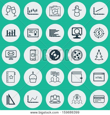 Set Of 25 Universal Editable Icons. Can Be Used For Web, Mobile And App Design. Includes Elements Such As Call Duration, Coding, Wallet And More.