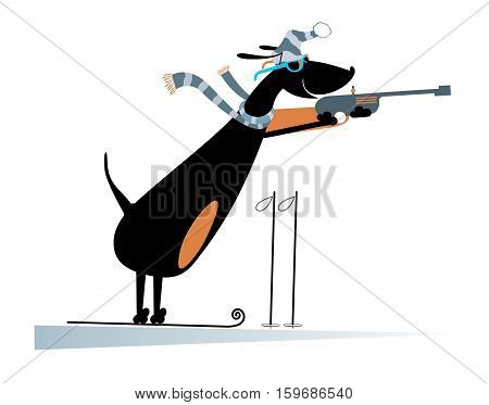 Dog a biathlon competitor. Cartoon dachshund biathlon competitor is shooting to the target