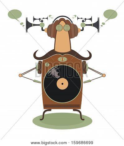 Funny jukebox. Vintage jukebox cartoon vector illustration