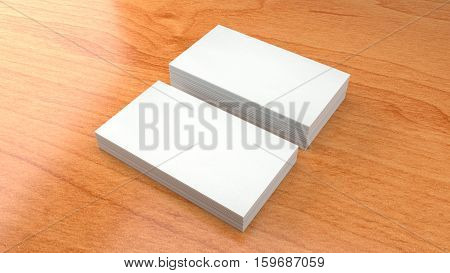 White Business card template on wooden background. High resolution 3d render. Personal branding mockup template.