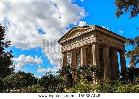 Stone pavilion in the Public Gardens in Valletta