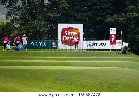 KUALA LUMPUR, MALAYSIA - OCTOBER 29, 2016: Michelle Wie of the USA tees off from the 9th T-box of the TPC Golf Course at the 2016 Sime Darby LPGA Malaysia golf tournament.