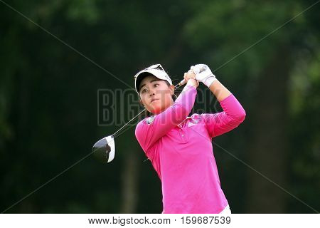 KUALA LUMPUR, MALAYSIA - OCTOBER 29, 2016: Danielle Kang of the USA tees off at the TPC Golf Course at the 2016 Sime Darby LPGA Malaysia golf tournament.