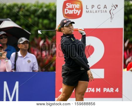 KUALA LUMPUR, MALAYSIA - OCTOBER 29, 2016: Ariya Jutanugran of Thailand tees off from the 2nd T-Box of the TPC Golf Course at the 2016 Sime Darby LPGA Malaysia golf tournament.