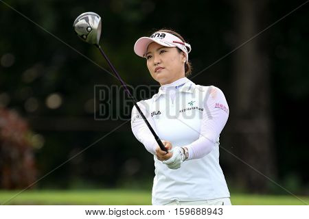 KUALA LUMPUR, MALAYSIA - OCTOBER 29, 2016: So Yeon Ryu of South Korea reacts after her tee off at the TPC Golf Course on Round 3 of the 2016 Sime Darby LPGA Malaysia golf tournament.