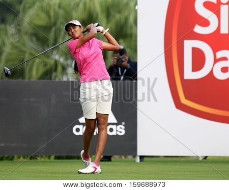 KUALA LUMPUR, MALAYSIA - OCTOBER 29, 2016: Aditi Ashok of India tees off at the TPC Golf Course on Round 3 of the 2016 Sime Darby LPGA Malaysia golf tournament.