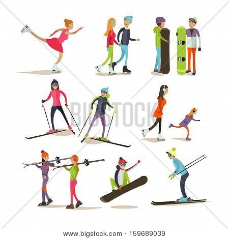 Vector set of characters skating, skiing, snowboarding, isolated on white background. Children and adults going in for sports. Outdoor winter activities concept design elements, icons in flat style.