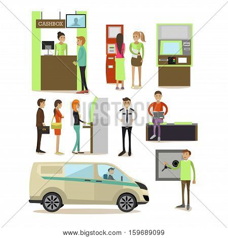 Vector set of banking concept design elements, icons in flat style. Customers carrying out operations with ATM, self-service terminal. Bank employees, guard, safe, cash box, encashment truck.